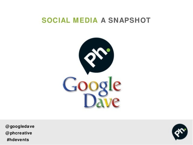 SOCIAL MEDIA A SNAPSHOT@ googledave@ phcreative#hdevents