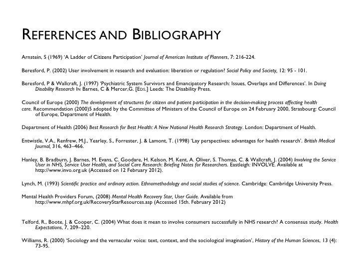 REFERENCES AND BIBLIOGRAPHYArnstein, S (1969) 'A Ladder of Citizens Participation' Journal of American Institute of Planne...