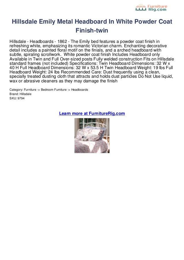 Hillsdale Emily Metal Headboard In White Powder Coat                       Finish-twinHillsdale - Headboards - 1862 - The ...