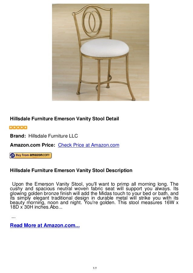 Enjoyable Hillsdale Furniture Emerson Vanity Stool Gmtry Best Dining Table And Chair Ideas Images Gmtryco