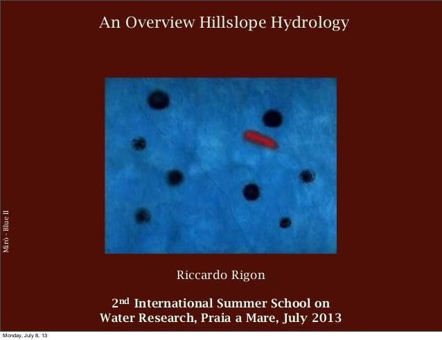 An Overview Hillslope Hydrology Mirò-BlueII Riccardo Rigon 2nd International Summer School on Water Research, Praia a Mare...