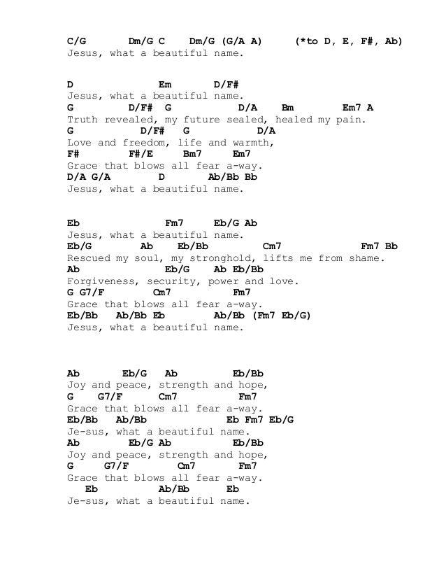 Lyric no other name lyrics hillsong : beautiful name chords   Imgurm