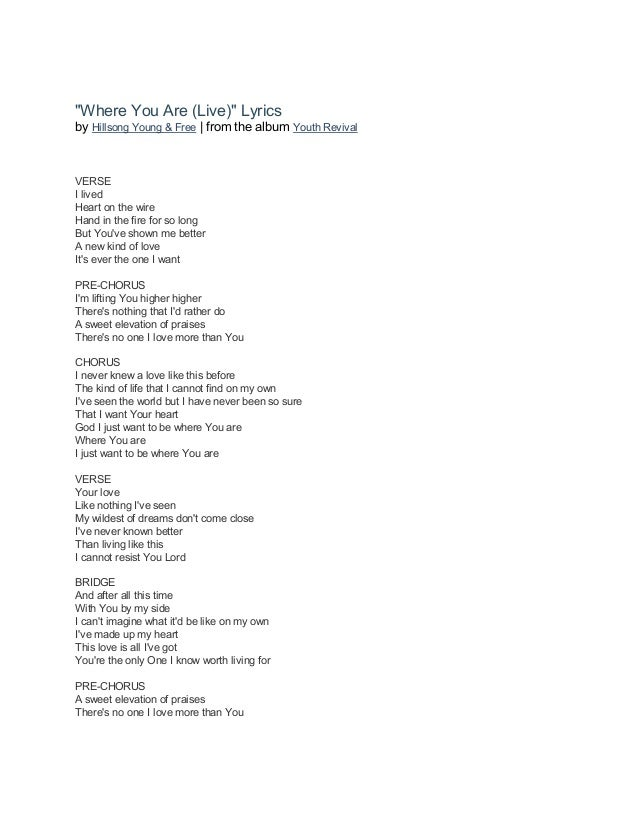 Hillsong young & free youth revival (2016) lyrics book