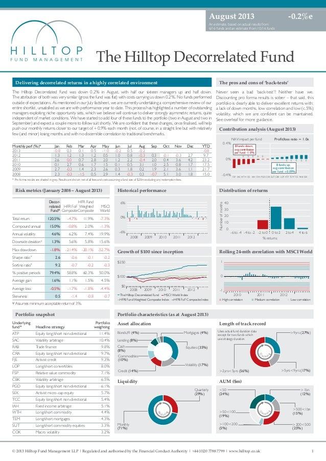 hilltop decorrelated fund august 2013 factsheet