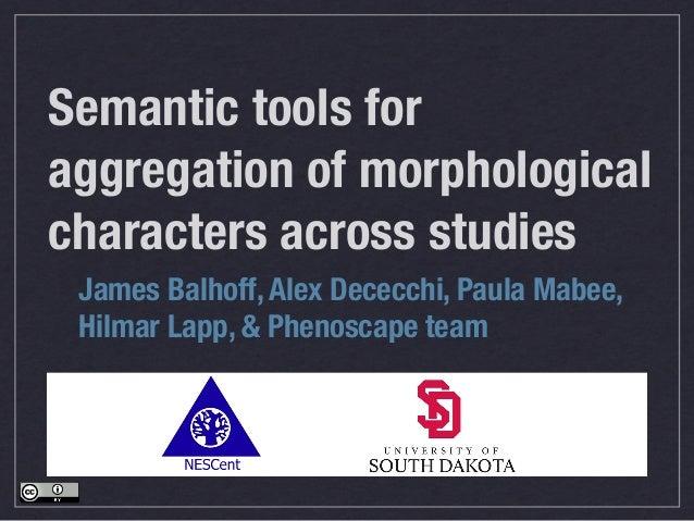Semantic tools for aggregation of morphological characters across studies James Balhoff, Alex Dececchi, Paula Mabee, Hilma...