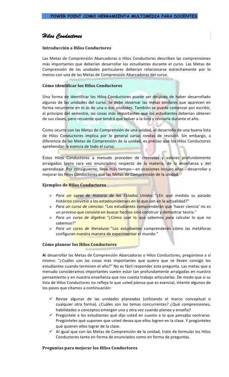 Hilos ConductoresIntroducción a Hilos Conductores530860889000Las Metas de Comprensión Abarcadoras o Hilos Conductores desc...