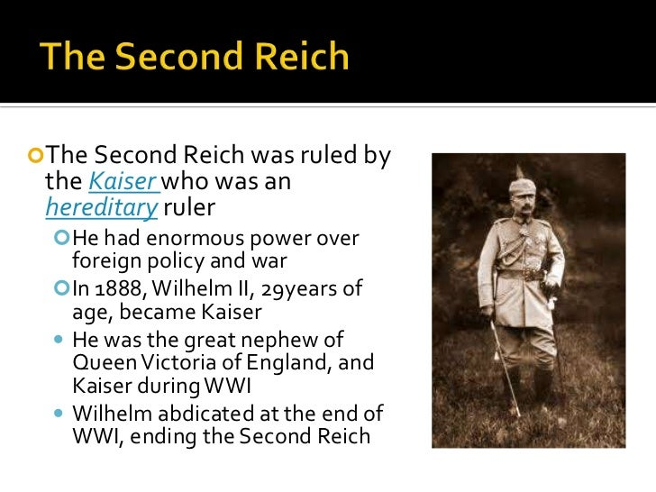 The second reich was governed by