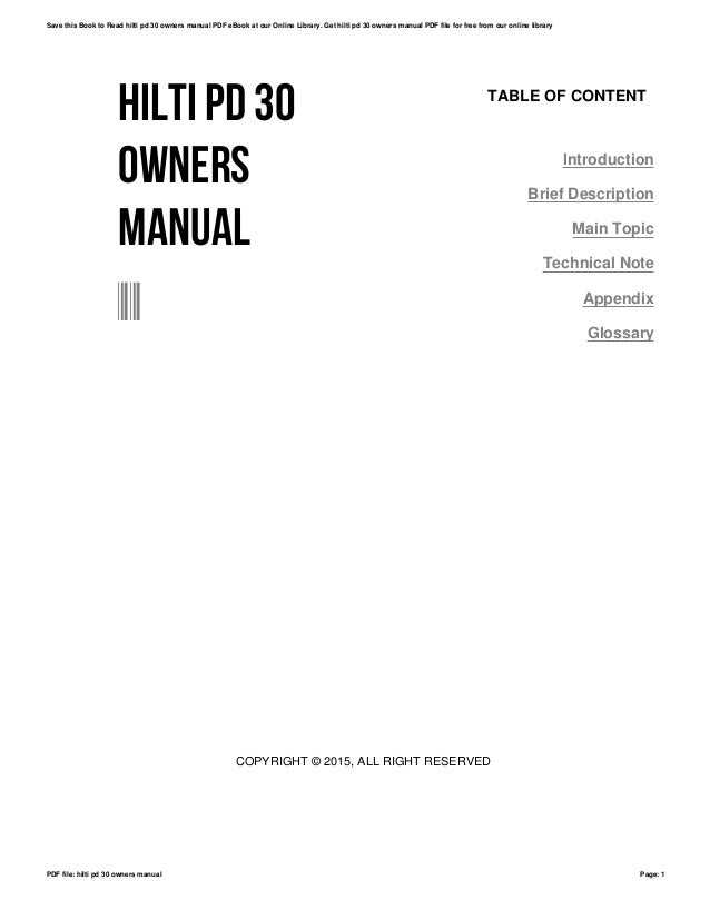 Hilti pd 30 owners manual