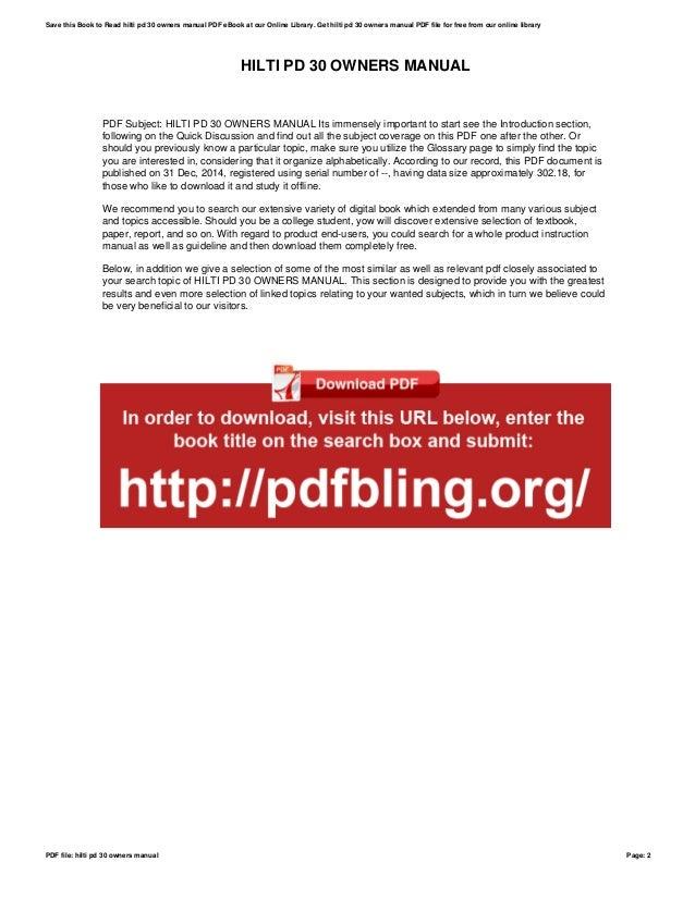 hilti pd 30 owners manual rh slideshare net Hilti PD 32 Manual Samsung Owners Manuals