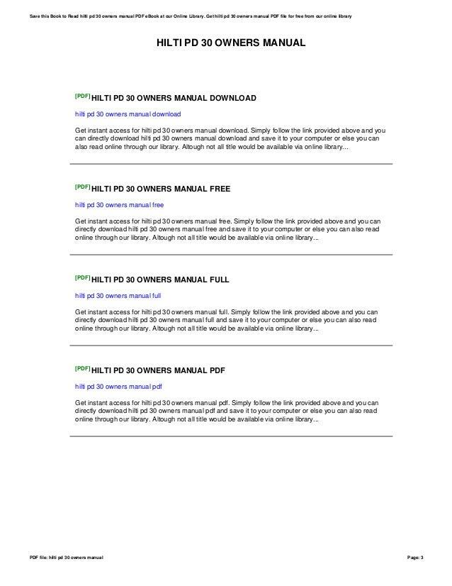 hilti pd 30 owners manual rh slideshare net Hilti Laser Hilti Measuring Devices