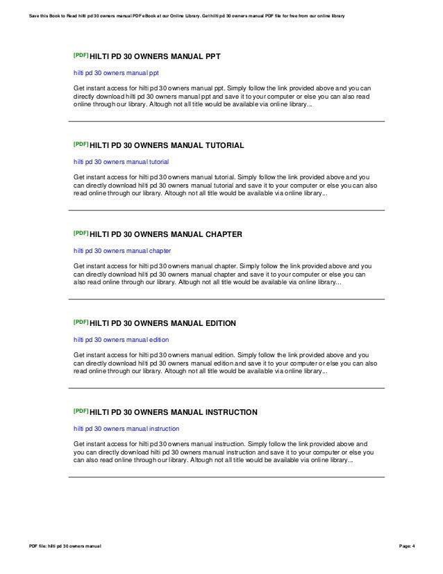 hilti pd 30 owners manual rh slideshare net Hilti PD 32 Manual Sony Owners Manuals