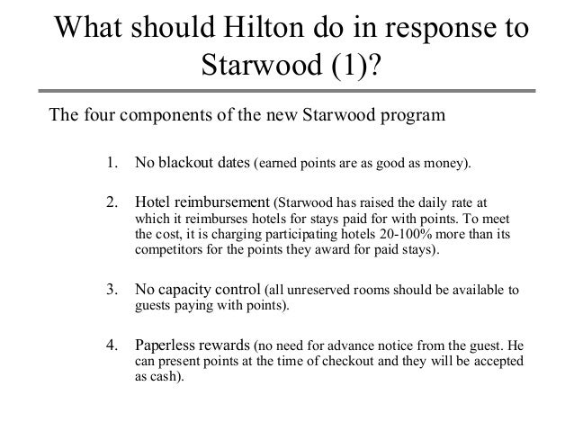 analysis of hilton itt wars Hilton case summary course: strategic marketing management name: firat sekerli the problem: in this case, starwood hotels and resorts worldwide inc, one of the biggest hotel chains in the world, decided to expand its preferred guest program by offering new features - no blackout dates, no capacity control, paperless rewards, and.
