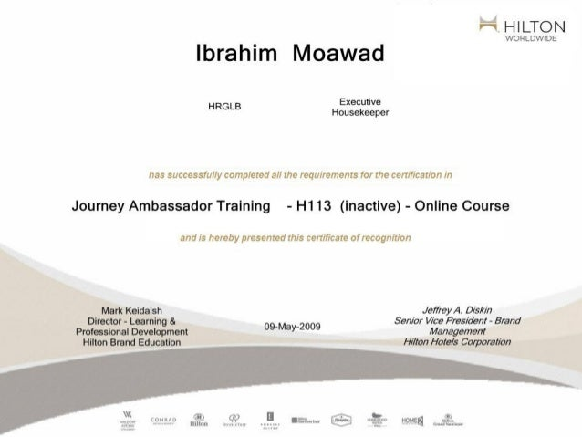 Hilton International Training.
