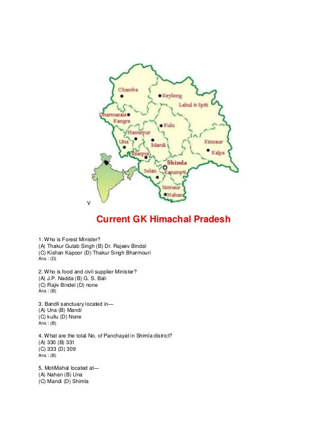V Current GK Himachal Pradesh 1. Who is Forest Minister? (A) Thakur Gulab Singh (B) Dr. Rajeev Bindal (C) Kishan Kapoor (D...