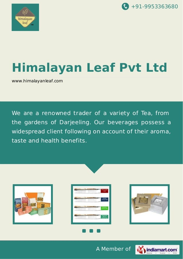 +91-9953363680  Himalayan Leaf Pvt Ltd www.himalayanleaf.com  We are a renowned trader of a variety of Tea, from the garde...