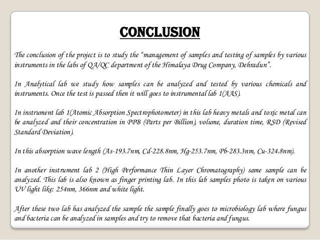 conclusion for company project