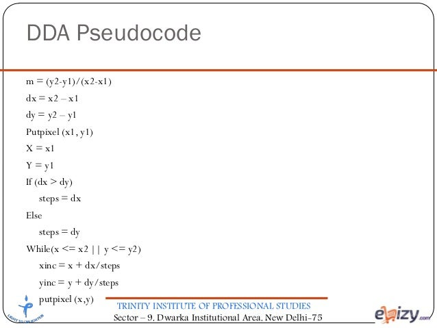 Bresenham Line Drawing Algorithm Pseudocode : Computer graphics