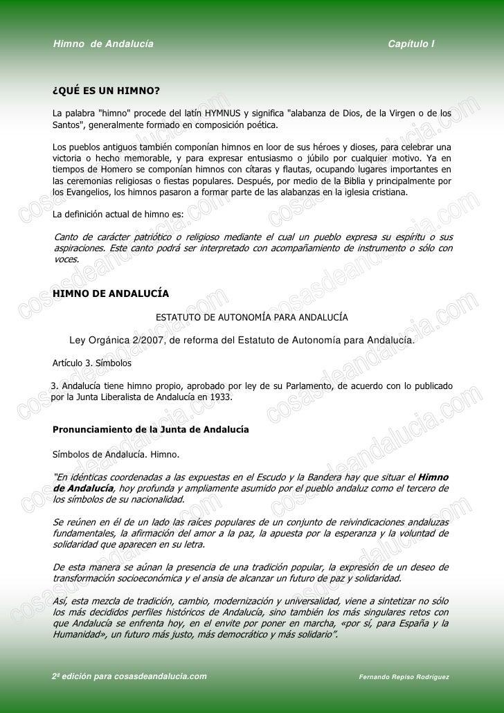 Himno de Andalucía                                                                 Capítulo I    ¿QUÉ ES UN HIMNO?  La pal...