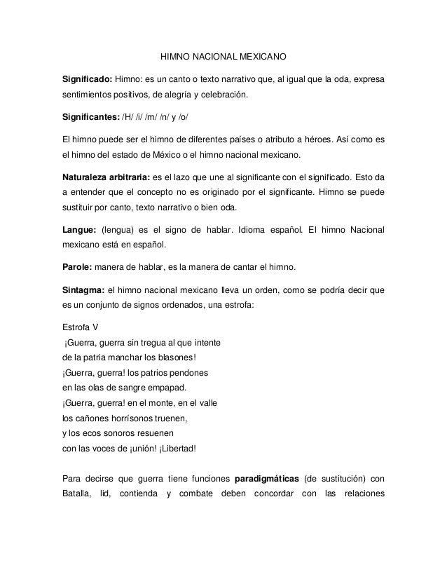 HIMNO NACIONAL MEXICANOSignificado: Himno: es un canto o texto narrativo que, al igual que la oda, expresasentimientos pos...
