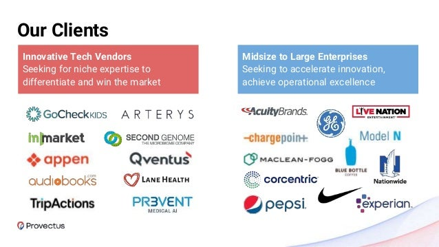 Our Clients Innovative Tech Vendors Seeking for niche expertise to differentiate and win the market Midsize to Large Enter...
