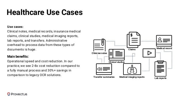 Use cases: Clinical notes, medical records, insurance medical claims, clinical studies, medical imaging reports, lab repor...
