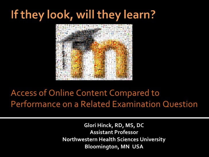 Glori Hinck, RD, MS, DC Assistant Professor Northwestern Health Sciences University Bloomington, MN  USA Access of Online ...