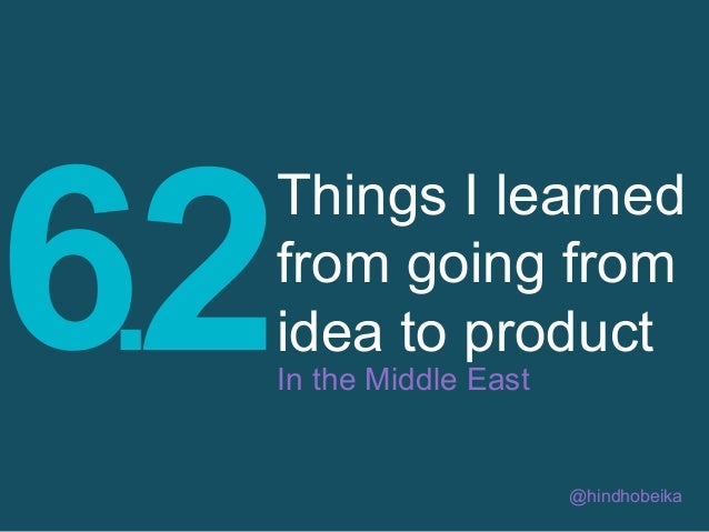 6.2  Things I learned from going from idea to product In the Middle East  @hindhobeika