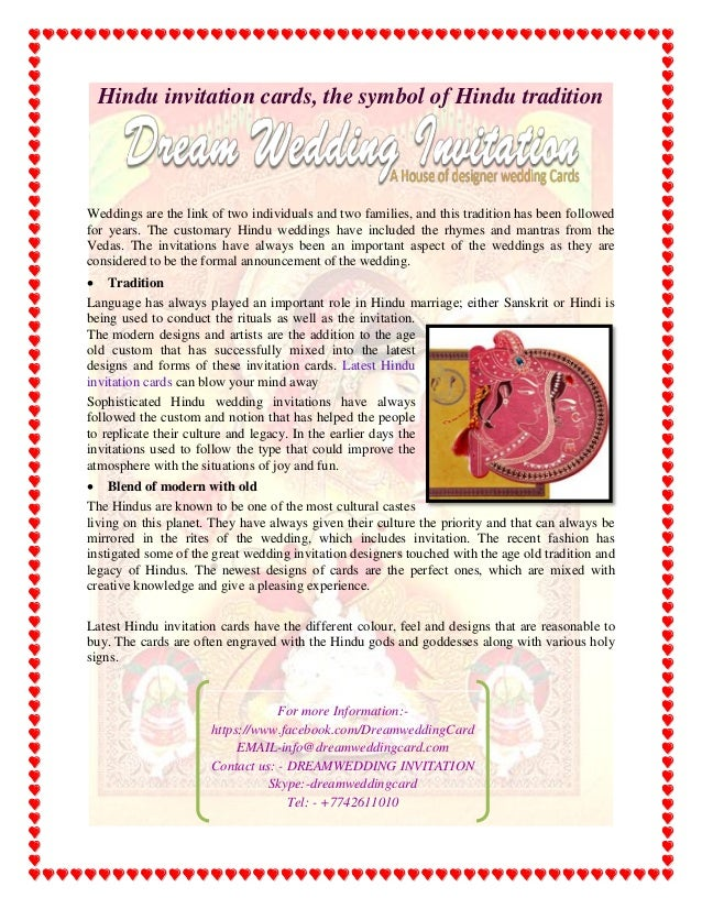 Hindu invitation cards, the symbol of hindu tradition