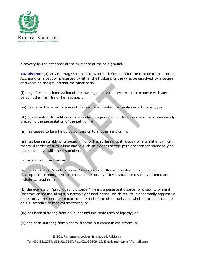 Hindu marriage act 2012 – Divorce Notice Format