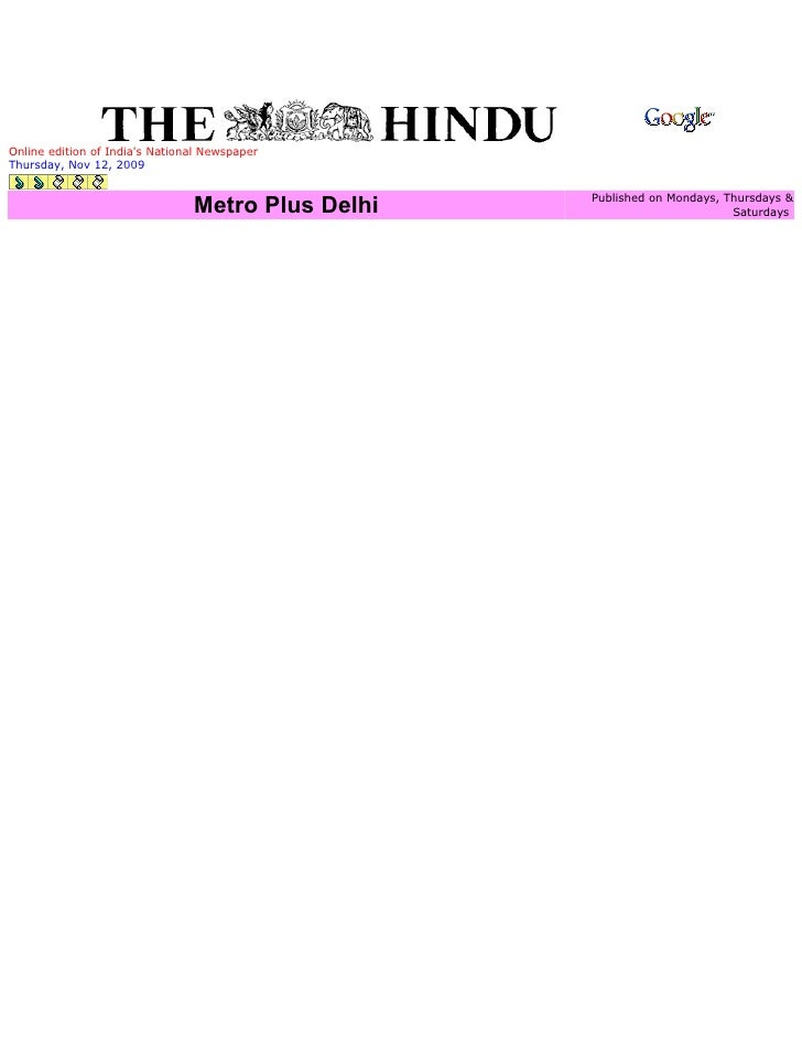 Online edition of India's National Newspaper Thursday, Nov 12, 2009                                                     Pu...
