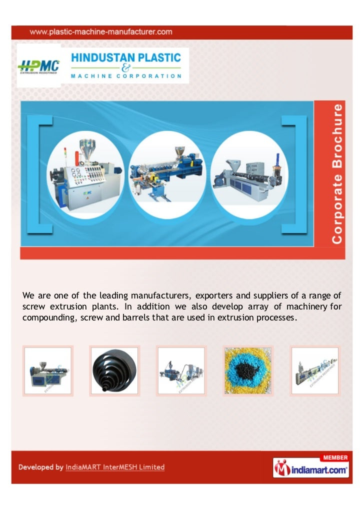 We are one of the leading manufacturers, exporters and suppliers of a range ofscrew extrusion plants. In addition we also ...