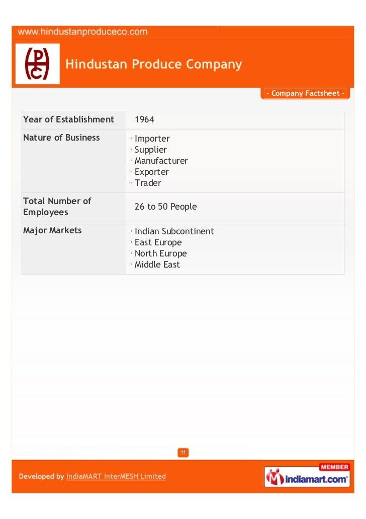 Hindustan Produce Company                                              - Company Factsheet -Year of Establishment   1964Na...