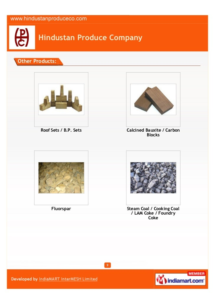 Hindustan Produce CompanyOther Products:        Roof Sets / B.P. Sets   Calcined Bauxite / Carbon                         ...