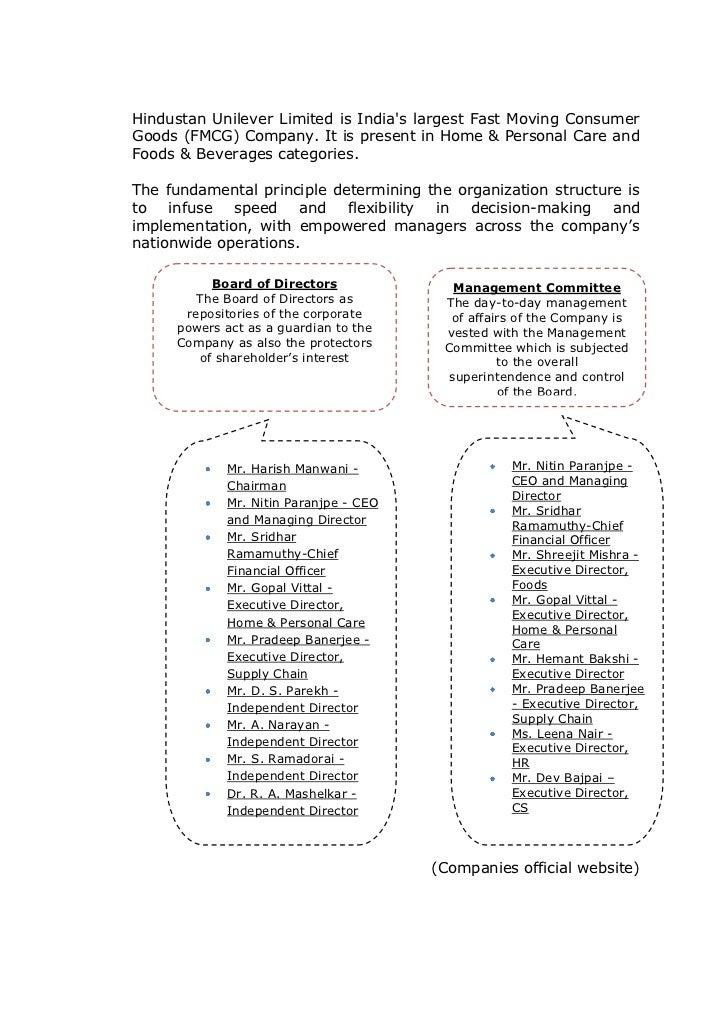 hindustan unilever organizational structure Unilever's indian subsidiary, hindustan lever unilever in india - managing human resources human resources development, organizational structure.