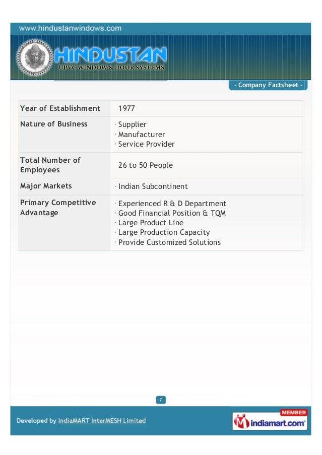 - Company Factsheet -Year of Establishment   1977Nature of Business      Supplier                        Manufacturer     ...