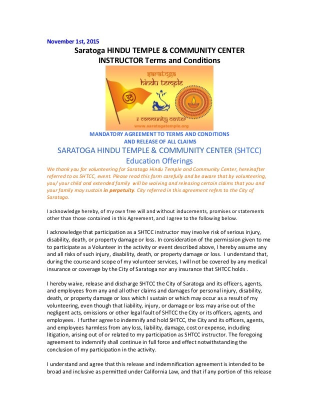 November	   1st,	   2015	    Saratoga	   HINDU	   TEMPLE	   &	   COMMUNITY	   CENTER	   	    INSTRUCTOR	   Terms	   and	  ...