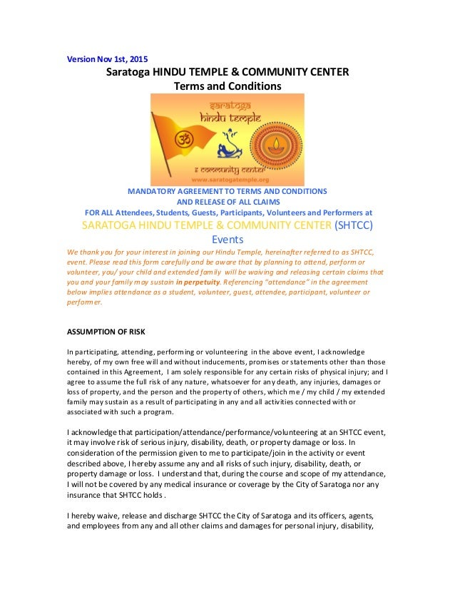 Version  Nov  1st,  2015   Saratoga  HINDU  TEMPLE  &  COMMUNITY  CENTER     Terms  and  Conditi...