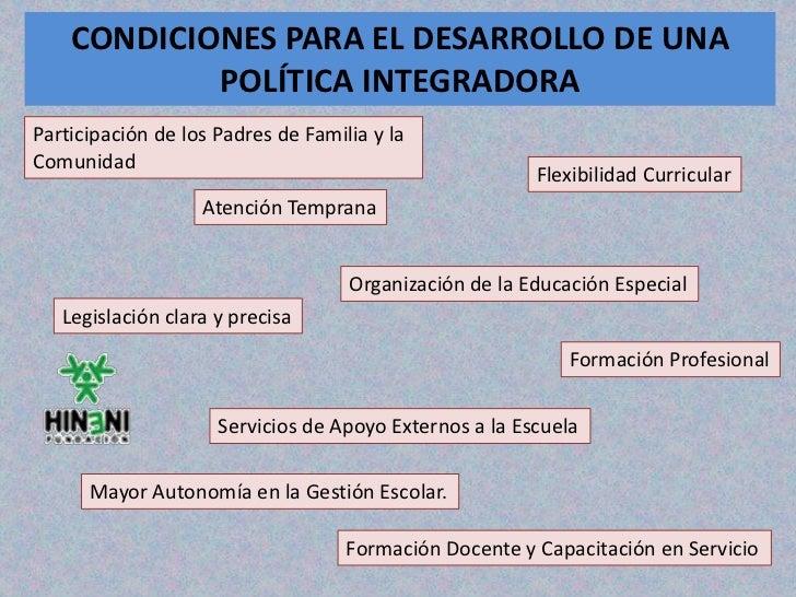 CONDICIONES PARA EL DESARROLLO DE UNA            POLÍTICA INTEGRADORAParticipación de los Padres de Familia y laComunidad ...