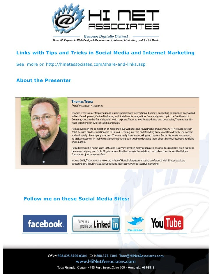 Links with Tips and Tricks in Social Media and Internet Marketing  See more on http://hinetassociates.com/share-and-links....