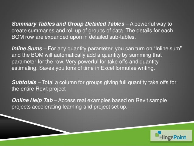 BOM to Excel for Revit– Reports, Tables & Quantities