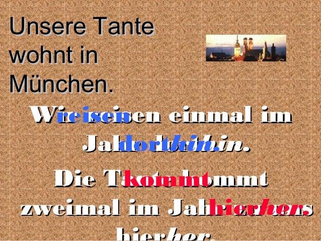 Unsere Tante wohnt in München. Wir reisen einmal im reisen dorthin. Jahr dorthin. Die Tante kommt kommt zweimal im Jahr zu...