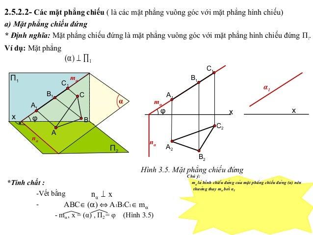 *Tính chất : -Vết bằng - - mα , x = (α) , П2 = φ (Hình 3.5) α∈⇔α∈ mCBA)(ABC 111 xn ⊥α 2.5.2.2- Các mặt phẳng chiếu ( là cá...