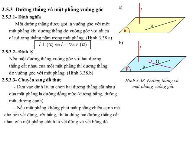2.5.3- Đường thẳng và mặt phẳng vuông góc 2.5.3.1- Định nghĩa Một đường thẳng được gọi là vuông góc với một mặt phẳng khi ...