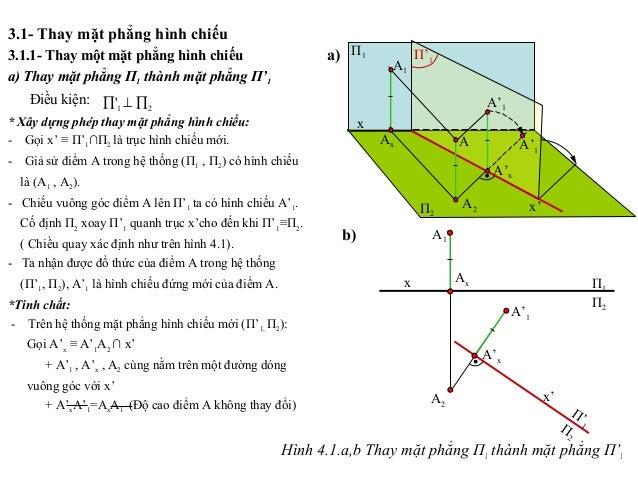 3.1- Thay mặt phẳng hình chiếu 3.1.1- Thay một mặt phẳng hình chiếu a) Thay mặt phẳng П1 thành mặt phẳng П'1 Điều kiện: * ...