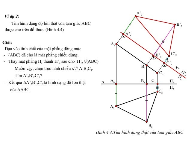 Ví dụ 2: Tìm hình dạng độ lớn thật của tam giác ABC được cho trên đồ thức. (Hình 4.4) Giải: Dựa vào tính chất của mặt phẳn...