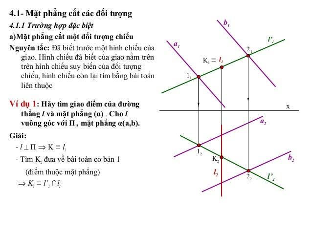 4.1- Mặt phẳng cắt các đối tượng 4.1.1 Trường hợp đặc biệt a)Mặt phẳng cắt một đối tượng chiếu Nguyên tắc: Đã biết trước m...
