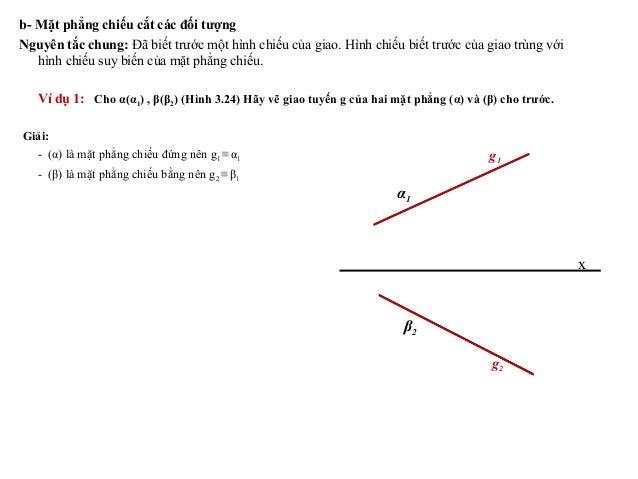 b- Mặt phẳng chiếu cắt các đối tượng Nguyên tắc chung: Đã biết trước một hình chiếu của giao. Hình chiếu biết trước của gi...