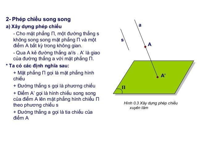 2- Phép chiếu song song a) Xây dựng phép chiếu - Cho mặt phẳng Π, một đường thẳng s không song song mặt phẳng Π và một điể...