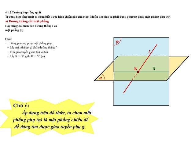 4.1.2 Trường hợp tổng quát Trường hợp tổng quát ta chưa biết được hình chiếu nào của giao. Muốn tìm giao ta phải dùng phươ...