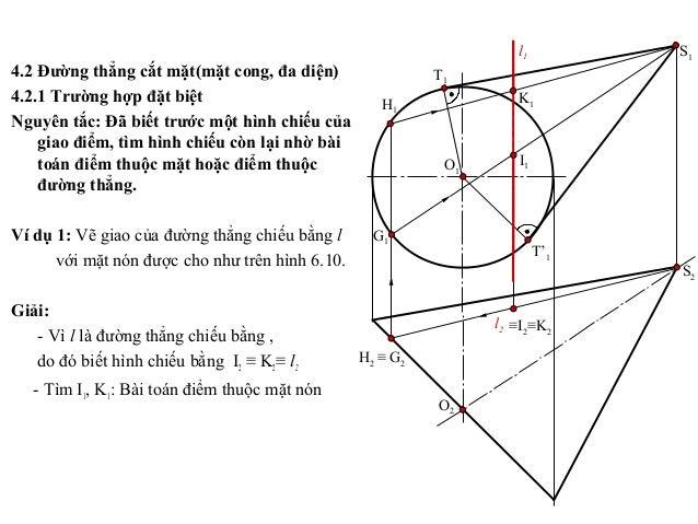 4.2 Đường thẳng cắt mặt(mặt cong, đa diện) 4.2.1 Trường hợp đặt biệt Nguyên tắc: Đã biết trước một hình chiếu của giao điể...